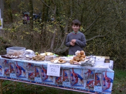 Tom Carter-Davies looking after WJS stall ,